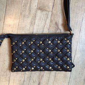 Dark Brown Studded Clutch, Vegan Leather.
